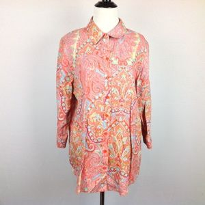 Chicos 2 Top Womens Large No Iron Linen Paisley